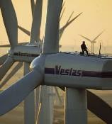 Working stands atop a wind turbine nacelle. Credit: Vestas