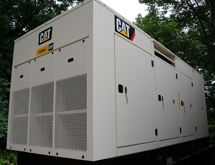 Monticello uses CAT's 500 kW C15 ACERT diesel gen set with a sound-attenuated, weather protected enclosure to minimize noise. Source: CAT