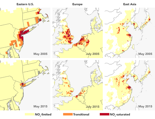 The top row of images shows each region in 2005, which had abundant nitrogen oxides in urban areas where human emissions are high, leading to systems where ozone formation was controlled by VOC amounts. As pollution controls were put into place on nitrogen oxides emissions, by 2015, the systems in urban areas became limited by nitrogen oxides, meaning that further controls on nitrogen oxides would help reduce ozone formation. (Credits: NASA's Earth Observatory /Josh Stevens)