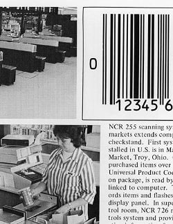 (Click to enlarge) The first commercial use of a bar code scanner was at a supermarket in Ohio and was fully publicized and recorded. Credit: Yale University Press