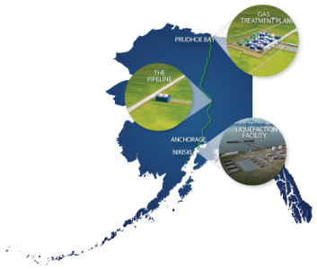 (Click to enlarge.) The project would stretch from Alaska's North Slope to port facilities near Anchorage. Credit: AGDC