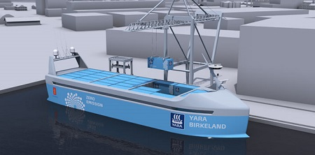 Autonomous and 100 percent electric, 'YARA Birkeland' will be the world's most advanced container feeder ship. Image credit: Kongsberg Maritime