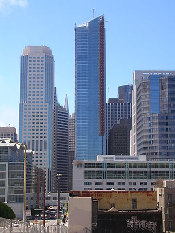 The Millennium Tower (301 Mission Street) under construction in July 2008. The white-colored building to the left is 50 Fremont Center, which stands 600 feet (183 m) with 43 floors.