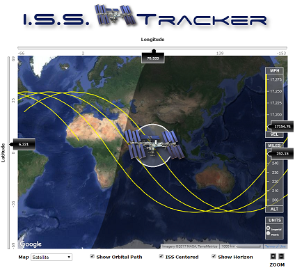 The ISS Path Tracker Web Interface. Credit: isstracker.com