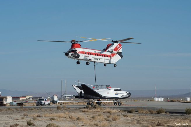 Dream Chaser was lifted to an altitude of 12,324 feet (3,756 meters) by Columbia Helicopters' Model 234-UT Chinook helicopter. Source: NASA