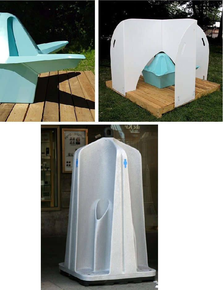 Portable outdoor urinal examples: female top, male bottom. Source: UiWEPublications & Horemu / CC BY-SA 3.0