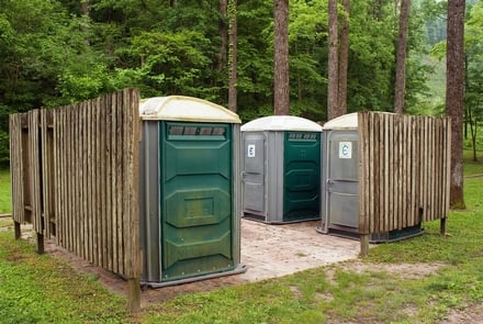 A sitting of portable toilets.