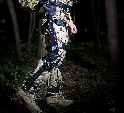 The FORTIS exoskeleton uses sensors to boost the load carrying capacity of soldiers performing strenuous tasks in the field. Image credit: Lockheed Martin