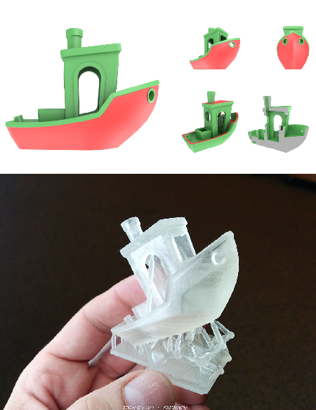#3DBenchy, multiple views (top); printed in resin (bottom). Image credits: Creative-Tools.com/CC BY-ND 4.0; Creative Tools/CC BY 2.0