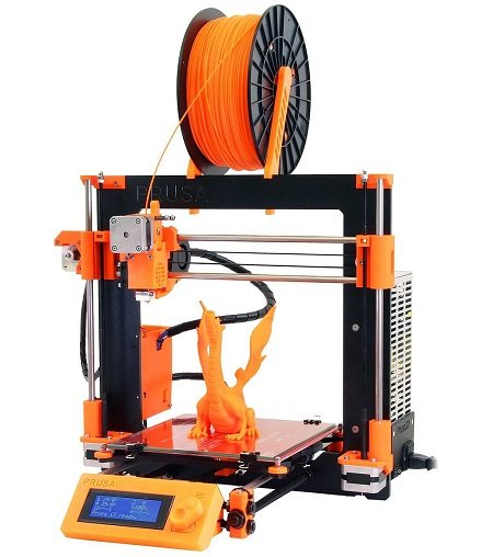 The widely-used Prusa i3 is an open-source FDM printer. Note filament spool at top. Image credit: Josef Prusa/GFDL 1.2.