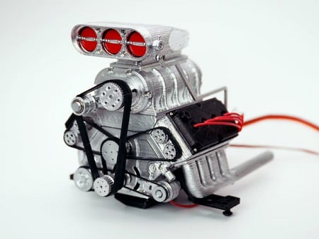 3D-printed, one-eighth scale working V8 engine. Image credit: DarkDragonWing/CC BY 3.0.