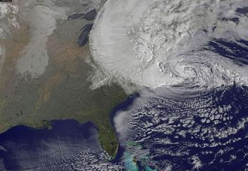 Satellite view of Hurricane Sandy on Oct. 29, 2012.