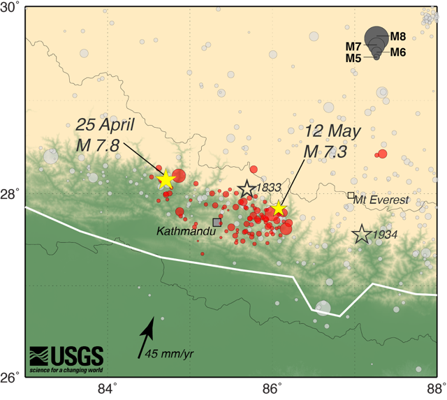 usgs map showing locations of the april and may 2015