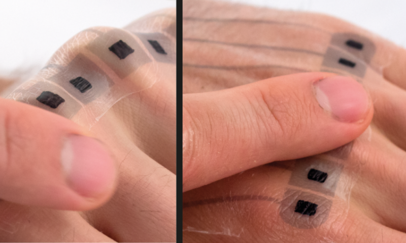 Using ultra-thin, electronic tattoos at distinctive body locations, users can control mobile devices. Image credit: Universität des Saarlandes