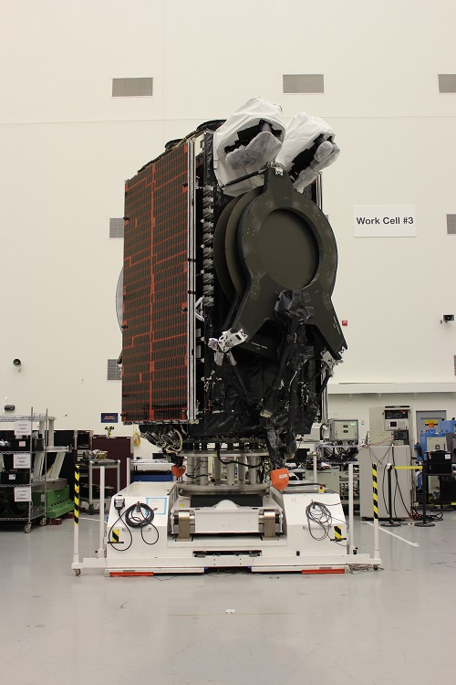 The SES-15 all-electric satellite in the factory. Image credit: Boeing