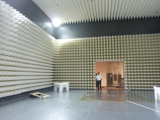 Inside the 10-m RF chamber. Source: TUV Rhineland IoT Center of Excellence