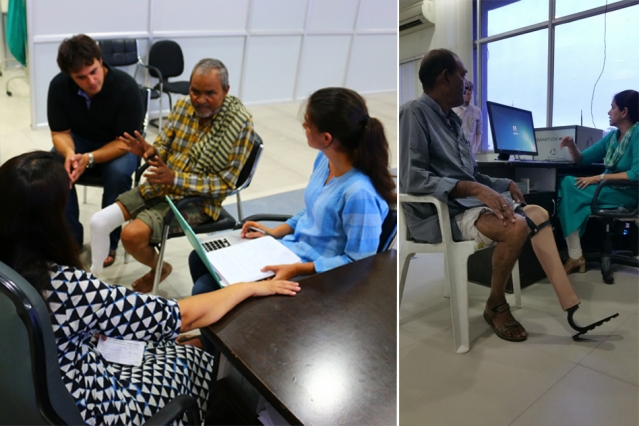 The researchers working with collaborators at Jaipur Foot in Jaipur, India gaining feedback from prosthesis users. (Source: MIT researchers)