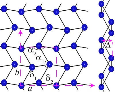 Gallenene structure after exfoliation from bulk gallium. Source: The Ajayan Research Group/Rice University