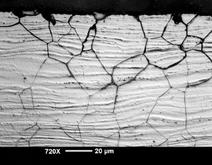Intergranular corrosion attack in austenitic cold rolled stainless steel sheet. Image source: Creative Commons