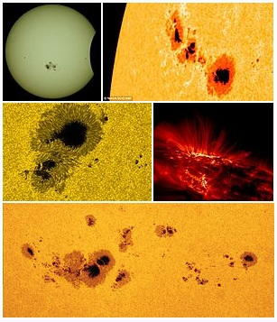 Top: sunspot region 2192 during the partial solar eclipse in 2014[1] and in September 2011.     Middle: sunspot close-up in the visible spectrum (left) and in UV, taken by the TRACE observatory.     Bottom: A large group of sunspots stretching about 320,000 km (200,000 mi) across. Sources: Tomrun / CC BY-SA 4.0; all others public domain