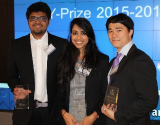Fermento team prize winners, from left: Siddharth Shah, Shashwata Narain and Alexander David. Image source:  University of Pennsylvania
