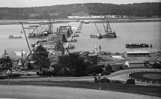 Arlington Memorial Bridge under construction. Arlington National Cemetery is in the background. Source: Wikimedia