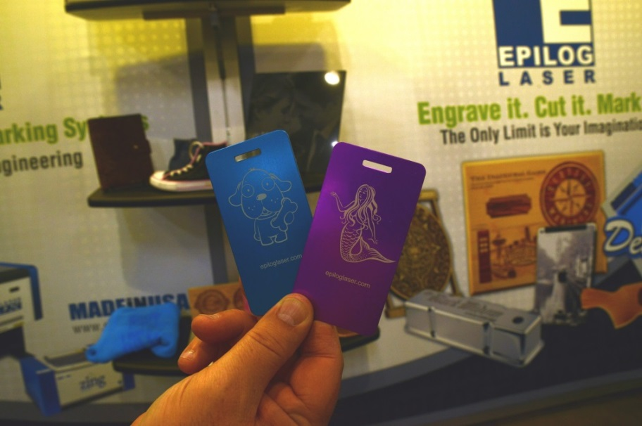 Samples from Epilog Laser's booth at the 2017 Bay Area Maker Faire