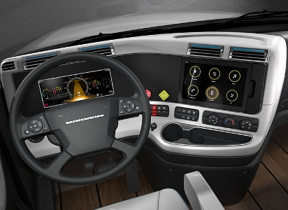 A driver can monitor operations through an easy-to-use human-machine interface. Image: Daimler Trucks North America