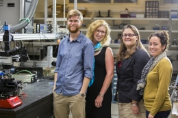 The microHammer team, from l to r: Graduate student researcher Luke Patterson and principal investigators Kimberly Turner, Megan Valentine and Adele Doyle