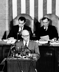 On Feb. 22, 1955, President Dwight Eisenhower appears before Congress to present his idea for a national highway system.