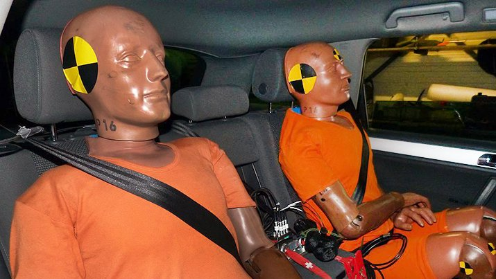 Much collision research is carried out using anthropomorphic crash test dummies. Source: Dynamic Test Center/AGU Zürich, via Wikimedia Commons