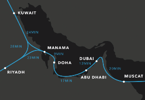 (Click to enlarge.) Possible hyperloop routes in and around the Persian Gulf States.