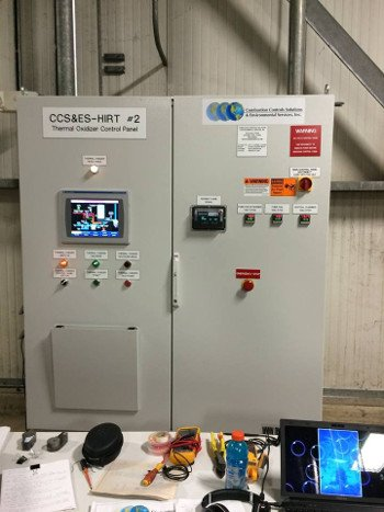 Control panel for thermal oxidizer regulation with an Allen-Bradley PLC user interface. Compromising this PLC could lead to catastrophic failure of the combustion process. Source: Wikipedia / CC BY-SA 4.0