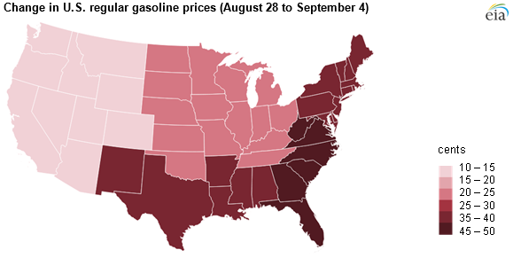 gas price rises were highest along the gulf coast and eastern seaboard credit eia