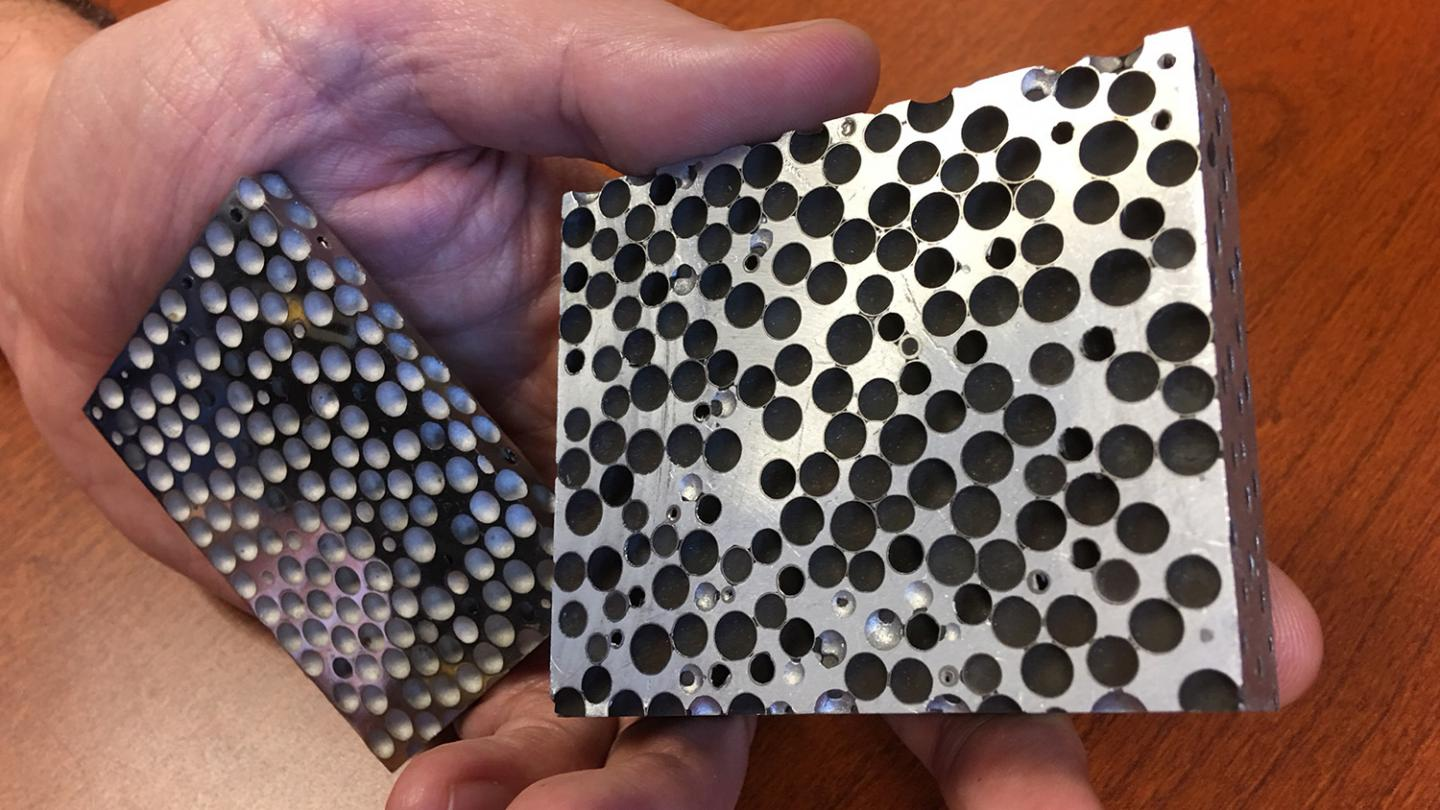 Researchers at North Carolina State University have developed a range of composite metal foams that are lighter and stronger than the materials they are made of. The foams can be used in applications from armor to hazardous material transport — and the researchers are now looking for collaborators to help identify and develop new applications. Source: Afsaneh Rabiei