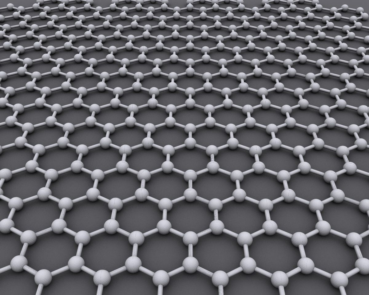 Graphene is an atomic-scale hexagonal lattice made of carbon atoms. Source: WikiCommons