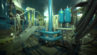 Giant Hydraulic Shaker Vibrates Spacecraft With the Intensity of an Earthquake