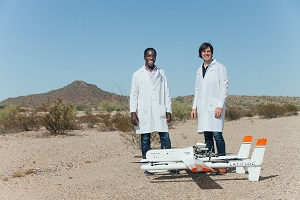 Dr. Timothy Amukele and Jeff Street have set a new delivery distance record for medical drones. Source: Johns Hopkins Medicine