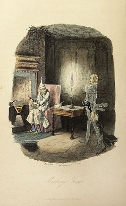 Source: Wikimedia Foundation,  Marley's ghost, from Charles Dickens: A Christmas Carol. Illustrations by John Leech. London: Chapman & Hall, 1843. First edition.