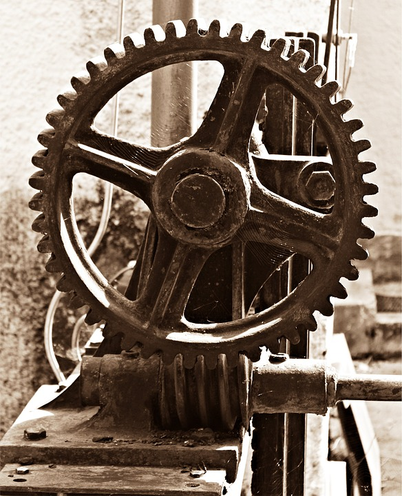 Spur gear and worm drive.