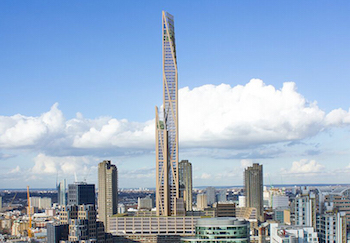 The proposed timber tower would be the second-tallest building in London. Image credit: PLP Architecture.