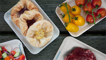Manufacturer designs food trays made of dough and baked