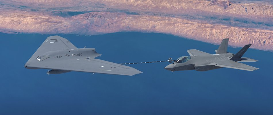 Computer rendering of Lockheed Martin's MQ-25 refueling an F-35 in flight. Source: Lockheed Martin