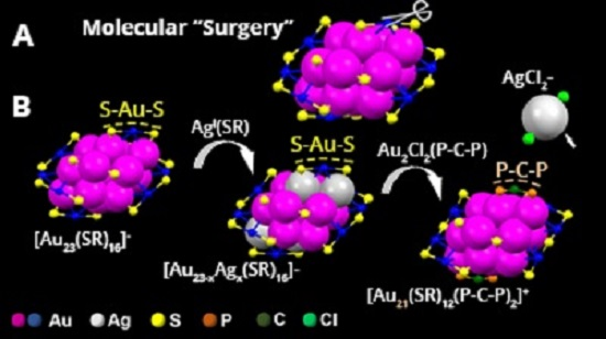 Schematic of molecular surgery on a 23-atom gold nanoparticle. Credit: Carnegie Mellon University