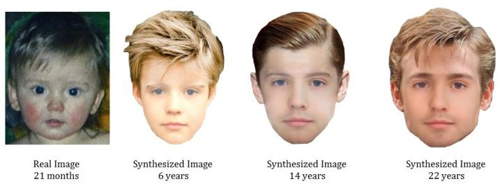 Age progressed images produced by University of Bradford researchers used the new technique. Image credit: University of Bradford