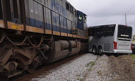 The bus was pushed 259 feet down the track after the collision. Credit: NTSB