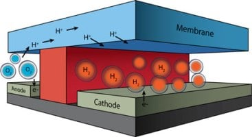 To cut the costs of full-scale prototypes for electrochemical energy conversion systems, DOE's Joint Center for Artificial Photosynthesis has developed a test bed whose height and width are similar to the diameter of a human hair. The channels in which oxygen and hydrogen are generated by splitting water are separated by a chemically inert wall (red). The conduction of protons from one channel to the other (required for continuous operation), occurs via a membrane cap (blue). Image source: Microfluidic
