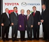 Alabama officials join executives from Toyota and Mazda to announce the new plant. Credit: Toyota
