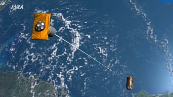 An artist's rendering of the KITE electrodynamic tether experiment. The Japanese space agency has until Saturday to deploy the experiment. (Image Credit: JAXA)