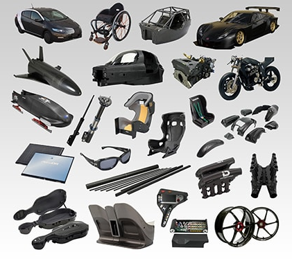 Figure 6 - Examples of parts and products made using carbon fibers. Source: Toray